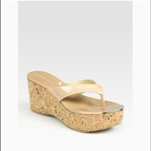 Jimmy Choos patent leather cork wedge sandals 6